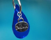 Recycled Skyy Vodka Cobalt Blue Pendant with Charm Believe Teardrop Necklace wedding bridal brides maid something blue
