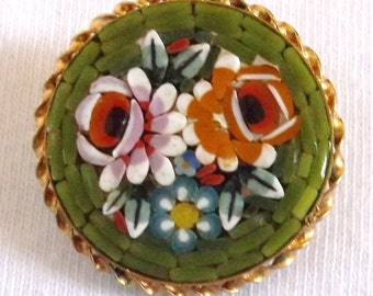 Super Duper Sale..Micro Mosaic Brooch..Mid Century Beaded Pin..Yellow and Pink Roses on Green Background..1960s