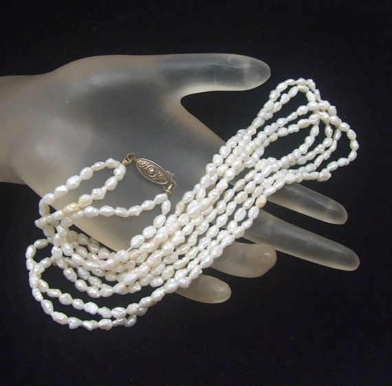 vintage real pearl necklace white freshwater pearls multi