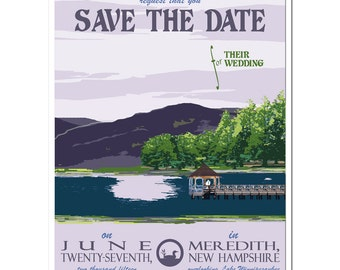 Vintage New Hampshire Lake Save the Date Card - DEPOSIT