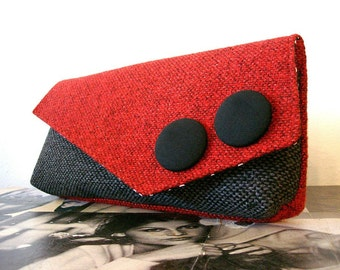 Strawberry Red and Coal Grey Large Clutch Carpet Bag READY TO SHIP