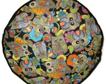 Handmade Pouffe Footrest Floor Cushion Colorful Owls