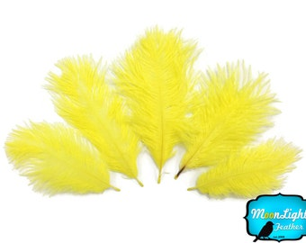 Ostrich Feathers, Wholesale Pack - YELLOW Ostrich Small Confetti Feathers (bulk) : 3482