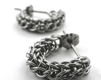 Stainless Steel Chainmaille Earrings - Swag Full Persian Posts Style Kit or Ready Made