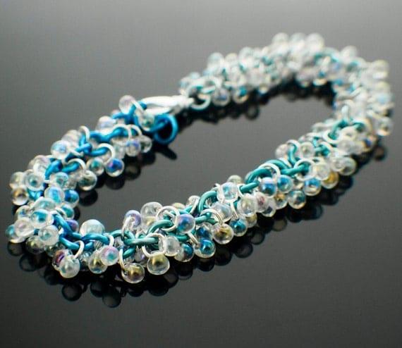 rainbow blue shaggy beaded bracelet kit by creatingunkamen
