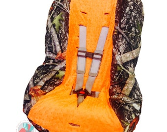 Toddler Car Seat Cover Camo with Orange