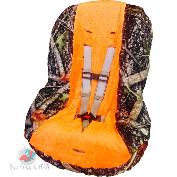 camo with orange toddler car seat cover by sewcuteinaz on etsy. Black Bedroom Furniture Sets. Home Design Ideas