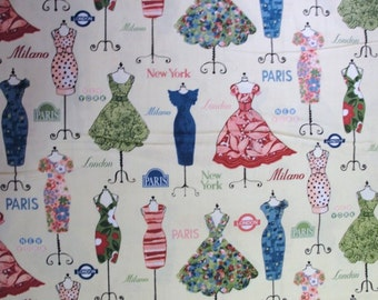 Vintage dress form print fabric yardage