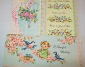 SALE - 3 Unused midcentury greeting cards, 1950s, 1940s, with extra envelopes