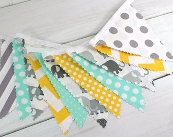 Bunting, Banner, Photography Prop, Fabric Flags, Elephant Baby Nursery Decor, Birthday Decoration - Elephants, Gray, Yellow, Mint Green