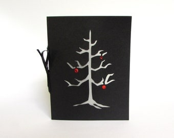 Gothic Christmas Tree Black Silhouette Greeting Card Cut Paper Red & Black