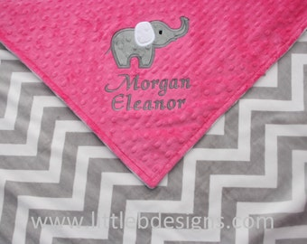 Personalized Baby Blanket with Elephant Applique - Hot Pink Minky with Gray and White Chevron Mink Blanket