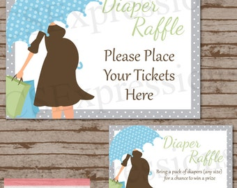 Baby Bump with Blue Umbrella Diaper Raffle Tickets and Table Sign