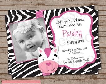 Girl Zebra Photo Birthday Invitation