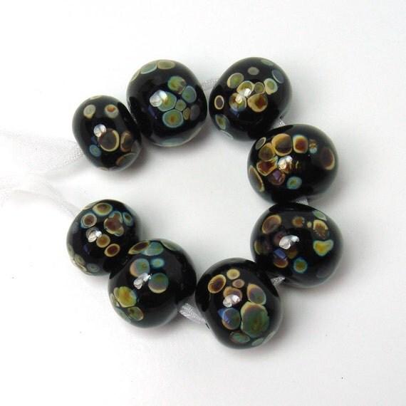 ON SALE  Handmade lampwork beads  -  Raku Rounds  -  black, jet, onyx, glass lampwork beads, set of 8 beads