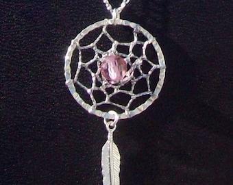 DREAM CATCHER NECKLACE Unique with pink Swarovski crystal - Dream in pink Dream catcher necklace