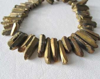 Deep Gold Titanium Coated Quartz Crystal Tip Briolettes, Half Strand