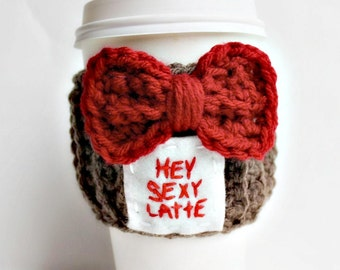 Travel Mug coffee tea cozy hey sexy latte red white brown crochet handmade cover bow tie Valentines day