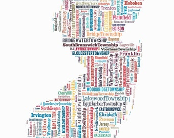 New Jersey Map Color Typography Map Poster Print