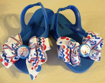 Sailing Sweetie Boutique Bow Nautical Flip Flops Toddler Size 7