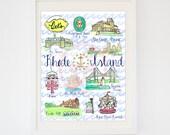 Original Rhode Island State Art -- Watercolor Rhode Island Souvenir Print -- State Landmarks