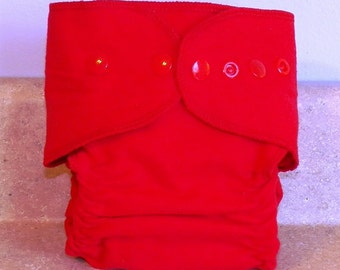 Fitted Small Cloth Diaper- 6 to 12 pounds-Red Flannel- 17009