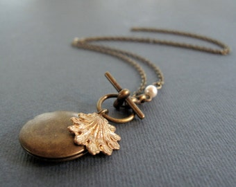 Brass Shell Necklace, Antique Gold Locket, Pearl and Sea Shell Locket Necklace - OCEANS CALLING