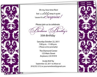 Digital Print it Yourself/Birthday Invitation/you can change the colors/Barbara design