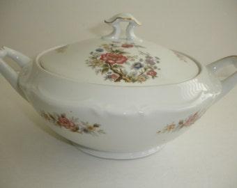Vintage Casserole Bowl  Pink Flowers  Vintage China Serving  Bowl  Covered Dish Shabby Cottage