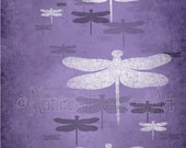 8x 10 Nature Wall Art Living Room Print, Dragonfly Art for Girls Room Decor, Purple Home Decor,  (315)