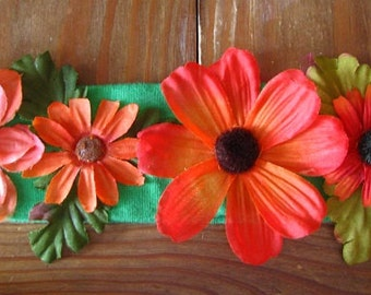 Red & Orange Flower Crown Stretchy Headband