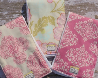 The Couture Mama Cloth Diaper Burp Cloths- Set of Three in Amy Butler Fabric- Pink