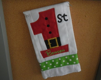 "Personalized Baby""s first Christmas Burp Cloth Monogrammed"