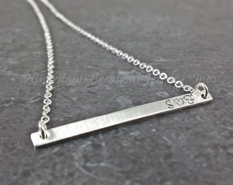 Skinny Bar Necklace - Sterling Silver Personalized Bar Necklace - Dainty Bar Necklace - Hand Stamped Name Plate