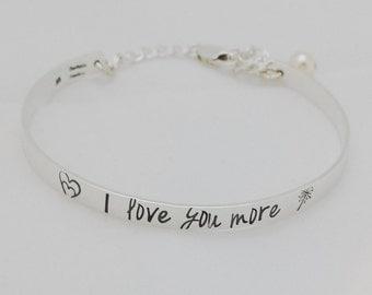I Love You More Sterling Silver Bracelet - Hand Stamped Bracelet - Personalized Bangle Bracelet