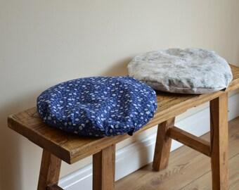 Meditation cushion pair of pillows round bench zafu zabuton organic buckwheat blue white floral seating pad floor cushions his and hers eco
