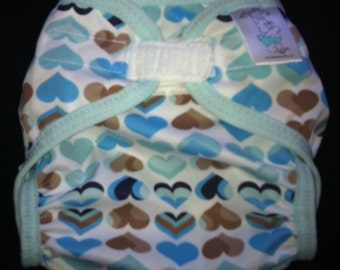 Sale Blue Hearts Polyester PUL Cloth Diaper Cover With Aplix Hook & Loop Or Snaps Pick Size XS/Newborn, Small, Medium, Large, or One Size