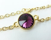 February Birthstone Bracelet Amethyst Gold Chain Bracelet Purple Crystal