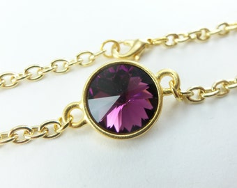 February Birthstone Bracelet Amethyst Gold Chain Bracelet Purple Crystal