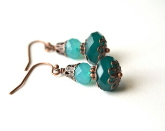Antiqued Copper Green Beaded Earrings Dangle Rustic Boho
