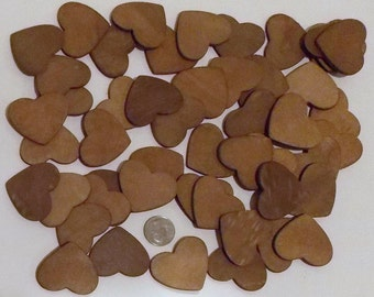 """100 Wood Hearts, 1 3/4"""" , Walnut Stained Wood Hearts, Wedding Wood Hearts, Ornaments, Wood Heart Crafts, Wood Embellishments, Kids Crafts"""