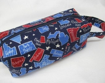 50 Fifty States YOU PICK - Cosmetic Shaving or Pencil Bag with Surprise embroidery Inside - Cosmetic Bag Makeup Bag LARGE