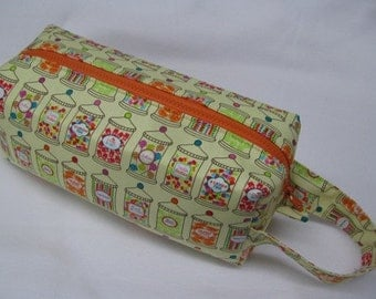 Kid in a Candy Store Candy Jars Bag with Surprise embroidery Inside - Cosmetic Bag Makeup Bag LARGE