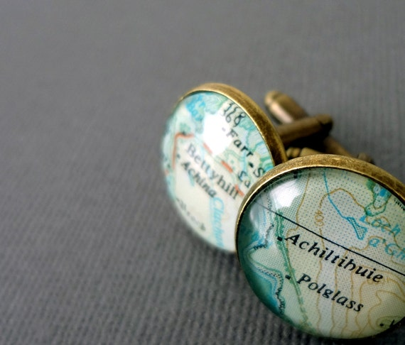 Father's Day Cufflinks,  Personalized cufflinks, bronze, vintage travel maps, for him