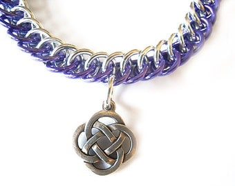 Celtic knot bracelet, Great for larger wrists, Silver Celtic knot jewelry, Purple chainmaille, Half Persian 3-in-1
