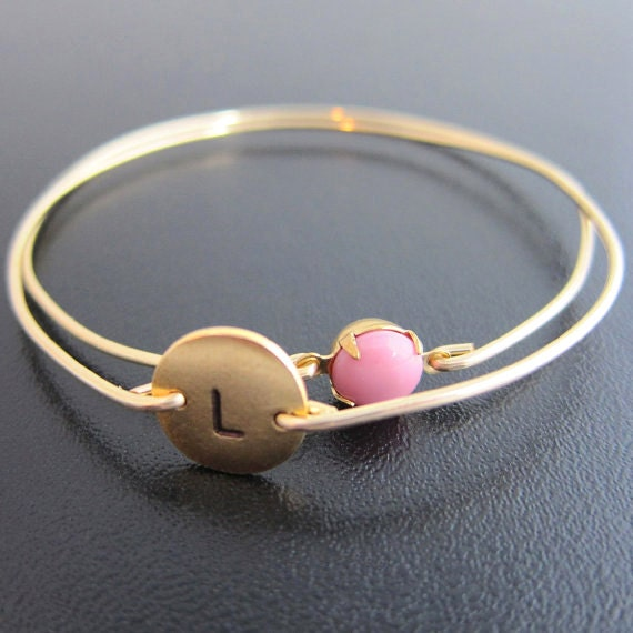 New Mother Jewelry, New Mother Gift, New Mother Bracelet with Initial of Baby Girl Keepsake with Pink Stone, or Blue for Boy, New Mommy Gift