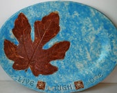 Housewarming Gift, Leaf, Leaves, Blue, Live, Laugh, Love, Home Living, Decor, Woodland, Rustic, Handmade, Turquoise, Indigo, bigdogpots