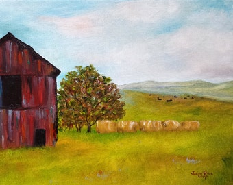Black Cows - farm landscape oil painting, original, cow, barn, hay bales, tree, mountains, America, 11x14