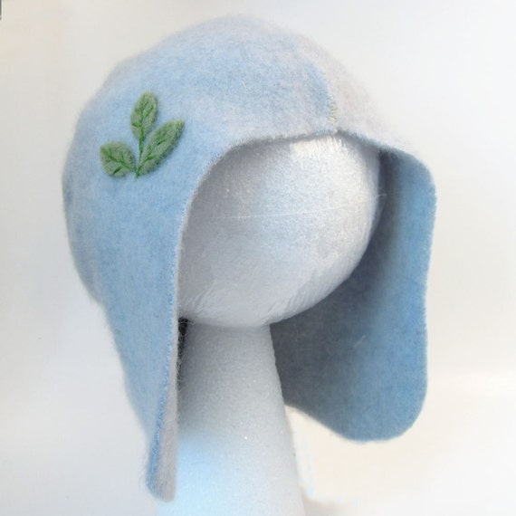 Upcycled Cashmere Toddler Hat- Light Blue with Green Leaves, size 3 to 5 years old