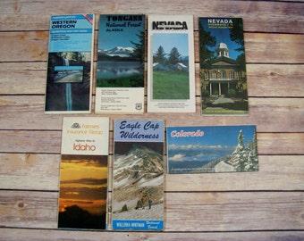 Vintage Maps collection of 7 maps for driving and recreation Oregon Idaho Nevada Colorado Alaska